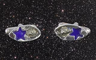 Enamelled Solid Silver Meteorite Cufflinks