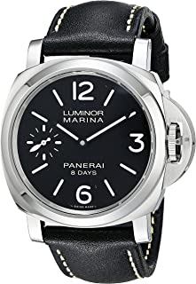 Panerai Mens PAM00510 Luminox Marina Black Dial Black Leather Watch