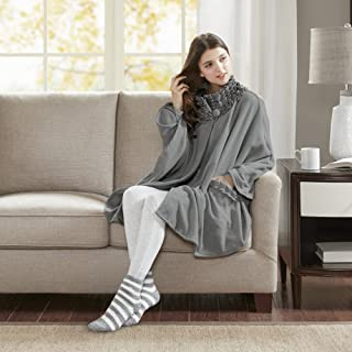Comfort Spaces - Stylish Soft Microfleece Poncho Angel Wrap with Matched Sock Set - Travel Blanket - (One Size fits Most)- Gray