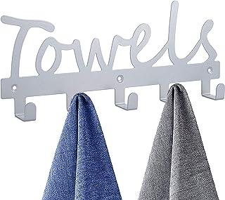 Towel Racks Wall Mount 5 Hooks,Bathroom Hooks Towel Holder Matte Nickel Towel Racks,Rustproof and Waterproof for Bath Towel Organizer,Bedroom,Kitchen,Living Room Towels, Clothing,Keys,Easy Install