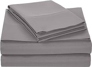 AmazonBasics Microfiber Sheet Set - King, Dark Grey, Ultra-Soft, Breathable
