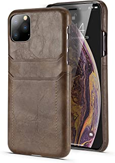 Deal Noon iPhone11 Leather Card Holder (Double) Slim Card Case Compatible for Apple iPhone 11, Leather Protection Cover wi...
