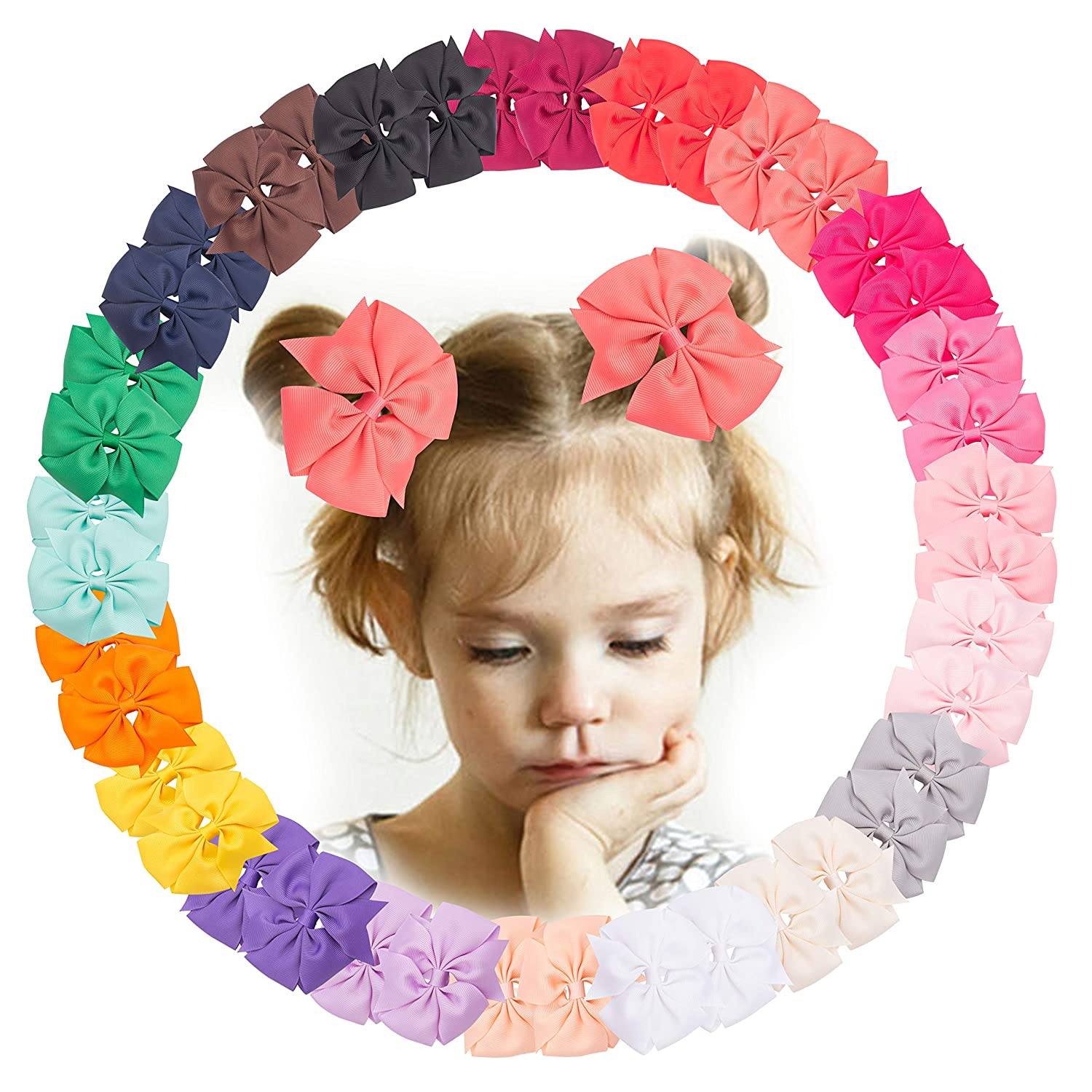 VINOBOW 40Piece Tulsa Mall 4Inch Pinwheel Pigtail Hair Bows Ranking TOP15 For Clips