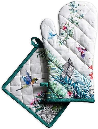 Maison d'Hermine Tropiques Lot comprenant 1 gant isolant (19 x 33 cm) et 1 manique (20 x 20 cm), 100 % coton, pour ba...