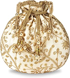 Peora Potli Bags for Women Evening Bag Clutch Ethnic Bride Purse with Drawstring (P04CRM)