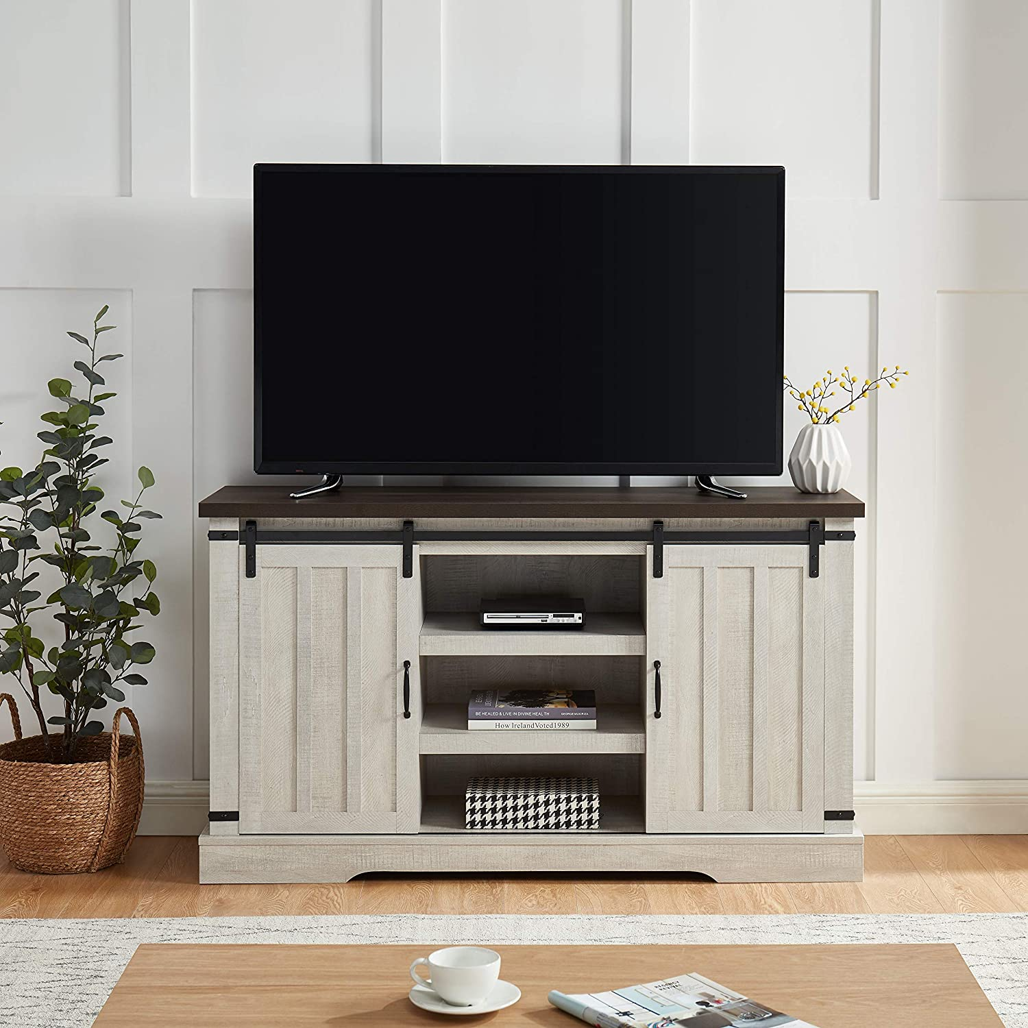 EDYO LIVING Farmhouse Sliding Barn Door TV Stand for TV up to 65 Inch Flat Screen Media Console Table Storage Cabinet Wood Entertainment Center Ranch Rustic Style (Off White)