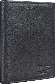 CAT Genuine Leather Rifid Protective Multipurpose UnisexCard Plus Cash Organizer/Credit/Debit Card Organizer - Black