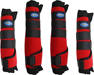Professional Equine Horse Horse 4-Pack Leg Care Stable Shipping Neoprene Boot Wraps Red 4108RD