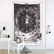 raajsee The Star Tarot Tapestry,Sun Moon Mysterious Medieval Europe Divination Black & White Wolf Tapestry Wall Hanging- Indian Cotton Throw- Hippie Mandala,Boho Bedding Yoga Meditation 54x82 inches