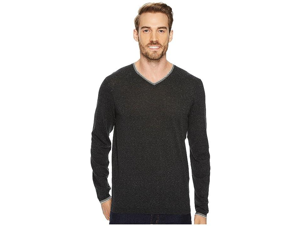 Agave Denim Fin Long Sleeve V-Neck 14GG Sweater (Stretch Limo) Men