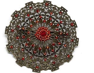 Spilla retro cuore tessitura di perle giapponesi rosso arancio diametro 5,5 cm regalo personalizzato natale amico complean...