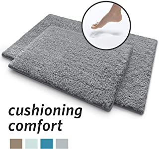 MICRODRY Soft & Cozy Memory Foam Bath Mat with GripTex Skid Resistant Base (2-Piece Set, Grey)