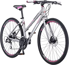 Schwinn Phocus 1500 Flat Bar Sport Fitness Hybrid Bikes, 17-Inch/Small Step-Through or 19-Inch/Large Step-Over Aluminum Frame with Shimano 24-Speed Drivetrain, Disc Brakes, and 700c Wheels, Matte Grey