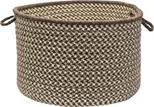 Colonial Mills Natural Wool Houndstooth Utility Basket, 24 by 14-Inch, Espresso