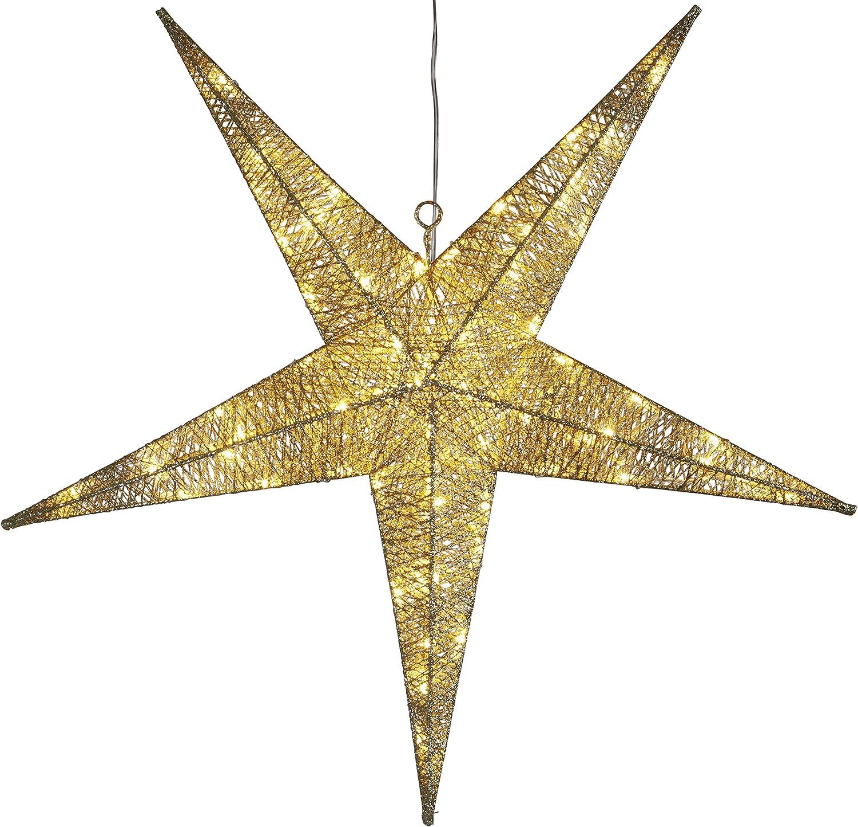 LED-Silhouette  Star , 72 warm Weiß LED, ca. 75 x 75 cm,  Goldene Baumwollfden Trafo, Outdoor