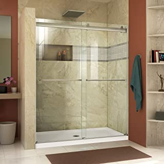 DreamLine SHDR-6360760-04 Essence 56 to 60 in. Frameless Bypass Shower Door in Brushed Nickel Finish