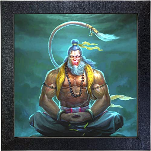 Sehaz Artworks Lord Mahaveer Hanuman Wall Decorative Photo Printed Painting (Carbon Fiber Framed, 30 cm x 30 cm x 3 c...