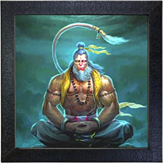 Sehaz Artworks Lord Mahaveer Hanuman Wall Decorative Photo Printed Painting (Carbon Fiber Framed, 30 cm x 30 cm x 3 cm, Bl...