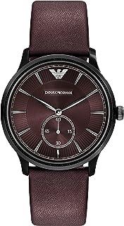 Emporio Armani Leather Quartz Analog -Watch Ar1801, Brown Band, For Unisex