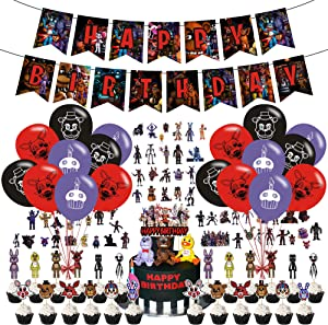 Five Nights at Freddy Birthday Party Supplies Set, Happy Birthday Banner, Cake Topper, Cupcake Toppers, Latex Balloons, Stickers, Birthday Party Supplies for Five Nights at Freddy's