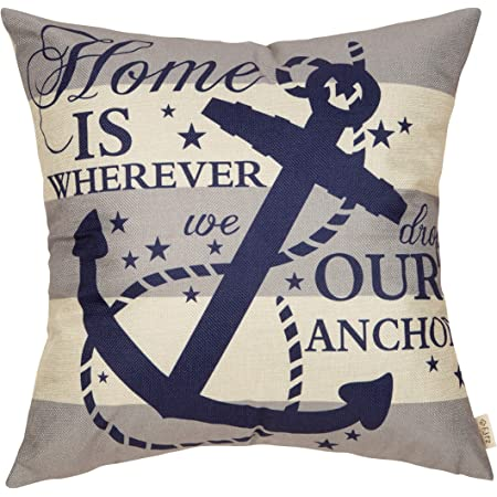 Fjfz Nautical Farmhouse Decorative Throw Pillow Cover Home Is Wherever We Drop Our Anchor Quote Sign Summer Cruise Lover Decoration Home Decor Cotton Linen Cushion Case For Sofa Couch 18 X
