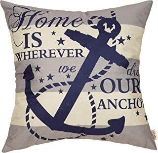 Fjfz Nautical Farmhouse Decorative Throw Pillow Cover Home is Wherever We Drop Our Anchor Quote Sign Summer Cruise Lover Decoration Home Decor Cotton Linen Cushion Case for Sofa Couch, 18