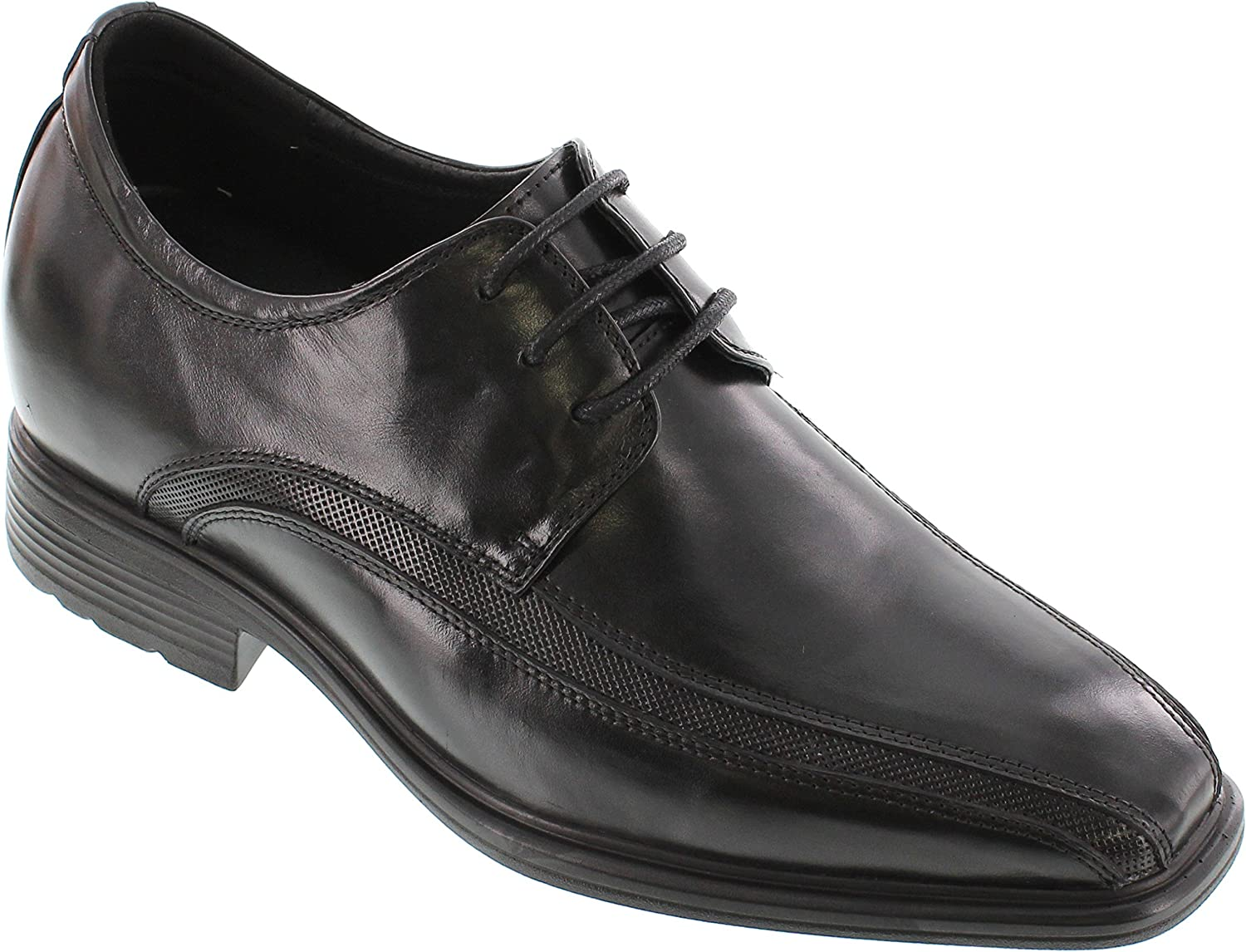 CALTO Men's Invisible Height Increasing Elevator Oxfords shoes - Black Leather Lace-up Super Lightweight Dress Derby - 3 Inches Taller - G60126