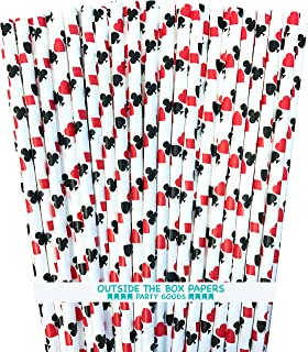 Casino Card Night Theme Paper Straws - Ace, Spade, Heart, Diamond Card Design - Black Red White - Pack of 100 - Outside the Box Papers Brand