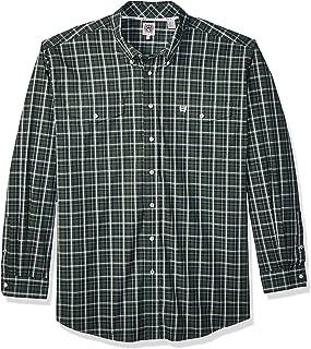Men's Classic Fit Long Sleeve Button Two Flap Pocket Plaid Shirt