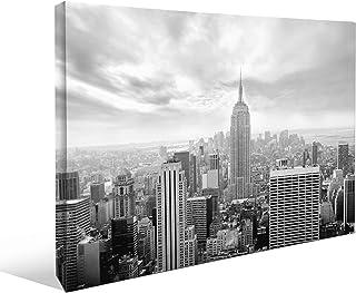 "JP London Monochrome 2037 2"" Thick Heavyweight Black & White Gallery Wrap Canvas Wall Art New York City Skyline Empire 2 x..."