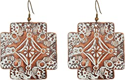 Chocolate and White Cross Concho Earrings