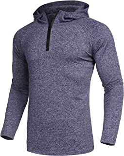 COOFANDY Men's Quarter Zip Hoodied Pullover Active Running Quick Dry Sportswear