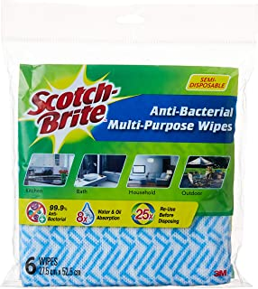 Scotch-Brite Semi-Disposable Multipurpose Wipes, Random, Pack of 6