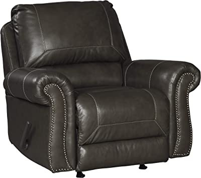 Benjara Top Pillow Back Rocker Recliner with Nailhead Trim and Rolled Arms, Brown