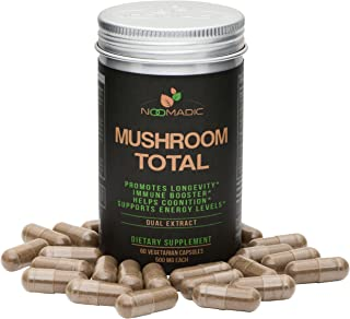 Mushroom Total, 60 Capsules, 500mg, Medicinal Mushroom Blend of Lions Mane, Turkey Tail, Chaga, Reishi, Cordyceps, Hot Water Extract, Fruiting Bodies, 30% Beta-D-Glucans, Natural Immune System Booster