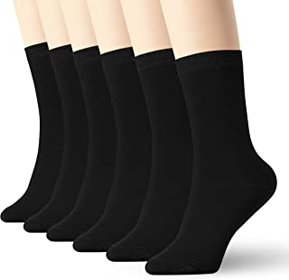 Womens Black Thin Cotton Socks High Ankle 6 Pack