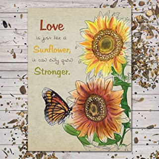 Set of 25 Sunflower Seed Packet Favors (F05) Love Is Just Like A Sunflower