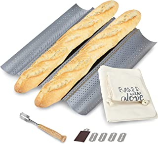 "JULKYA FRENCH BREAD BAKING KIT - NONSTICK PERFORATED BAGUETTE PAN 15""X13"", SOURDOUGH SCORING LAME WITH EXTRA BLADES AND A ..."