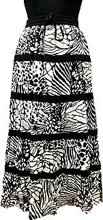 COTTON BREEZE Women's Cotton A-line Skirt (Black)