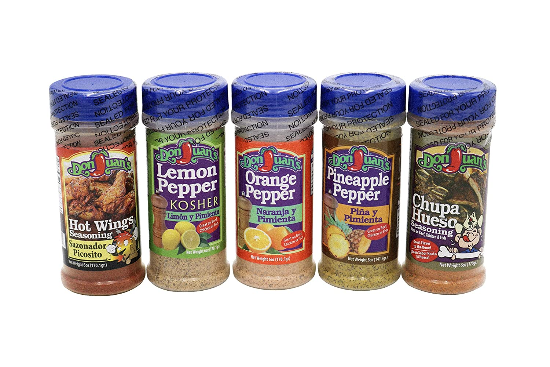 All-Purpose Seasonings 5-Pack Ultimate Meal Prep Bundle - Orange Pepper, Lemon Pepper, Chupa Hueso, Pineapple Pepper, Hot Wings   TexMex Flavors   Don Juan's Great for Tacos, Meat, Poultry, & Seafood