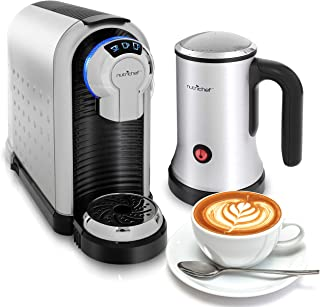 NutriChef PKNESPRESO70 Machine Coffee & Cappuccino Maker with Milk Frother-Compatible with Nespresso Coffee Capsule Pods-Instant Heating and 3 Brewi, Brewing Sizes