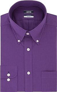 "IZOD Men's Dress Shirts Regular Fit Stretch Gingham, Purple rain, 16""-16.5"" Neck 34""-35"" Sleeve (Large)"