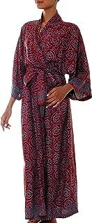NOVICA Burgundy Gray Handmade Floral Batik Long Robe, Morning Aster'