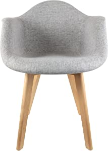 THE HOME DECO FACTORY - HD3094 - Lot de 2 Fauteuils Scandinave Tissu Bois + Polyester Gris 62 x 60,50 x 86 cm