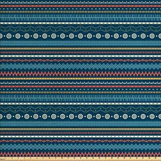 Lunarable Ethnic Fabric by The Yard, Geometric Lines Striped Chevron Spiral Waves Circular Diamond Boho Folk Design, Decorative Fabric for Upholstery and Home Accents, 3 Yards, Dark Turquoise