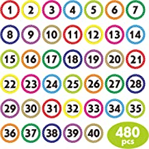 480 PCS Polka Dot 1-40 Numbers Stickers for Office, Classroom, Organizing (Each Measures 1