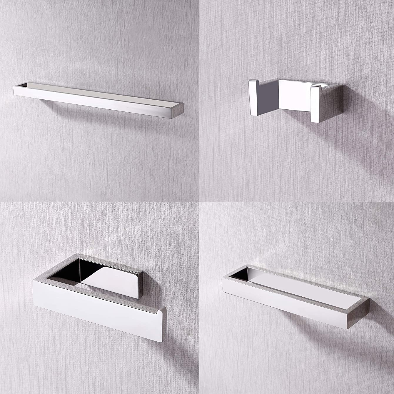 Kes 4-Piece Bathroom Accessory Set RUSTPROOF Wall Mount Polished SUS 304 Stainless Steel, LA2300-42