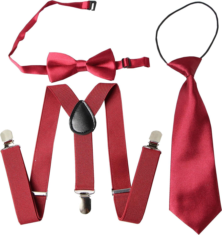 Keywin Baby Kids Boys Girls Toddler Tuxedo Adjustable Suspender & Bow Tie Set Matching Necktie