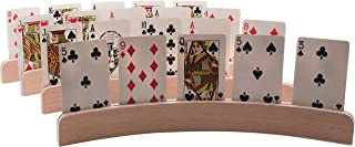 GrowUpSmart Set of 4 Wooden Playing Card Holders in Curved Design - 14 Size for Kids, Adults and Seniors Alike