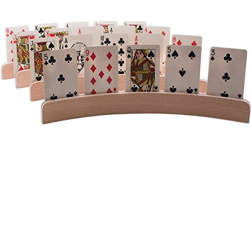 """GrowUpSmart Set of 4 Wooden Playing Card Holders in Curved Design - 14"""" Size for Kids, Adults and Seniors Alike"""